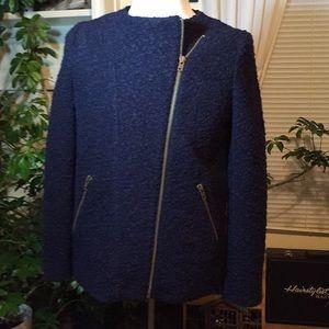 FOREVER 21 Zipper Details Boiled-Like Wool Jacket